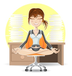 Meditation at the office vector