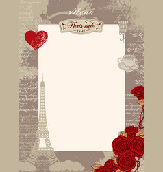 Menu blank with the eiffel tower heart and roses vector