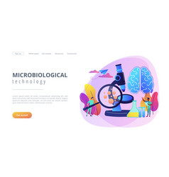 microbiological technology concept landing page vector image