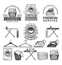 Monochrome labels laundry service vector