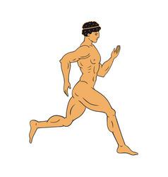 naked running athlete antique greece terracotta vector image