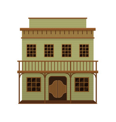 old wild west saloon with porch and swinging doors vector image