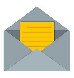 open envelope with lined sheet of paper icon vector image
