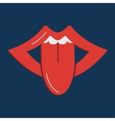 Open mouth sticking vector