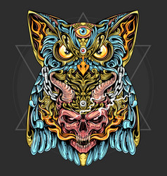 owl and skull with horn and fire ornament vector image