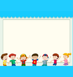 paper background with happy children vector image