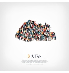 people map country Bhutan vector image