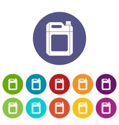 Plastic jerry can set icons vector