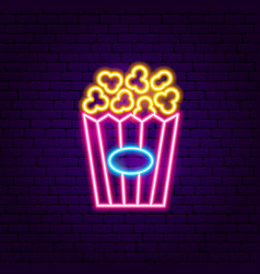 popcorn neon sign vector image