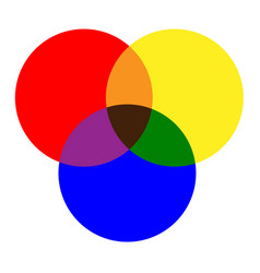 Primary colors of red yellow blue and mixing vector