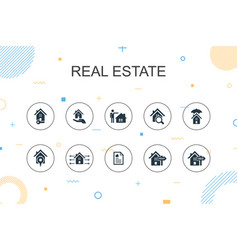 Real estate trendy infographic template thin line vector