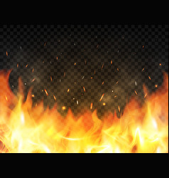 Realistic flames on transparent background fire vector
