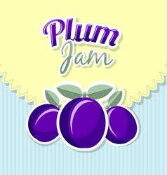 retro plum jam label vector image