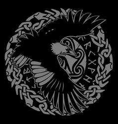 Scandinavian viking design black raven in flight vector