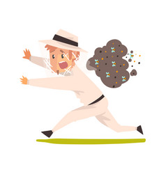 scared beekeeper running away from swarm of bees vector image