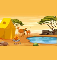 Scene with two camels in desert vector