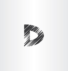 scratched letter d icon vector image