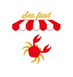 Sea food market or restaurant sign emblem red and vector