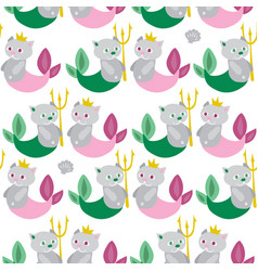 Seamless background with cat mermaids funny vector