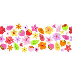 seamless border summer fruit flower border vector image