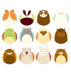 Set of avatars icons with cute animals vector