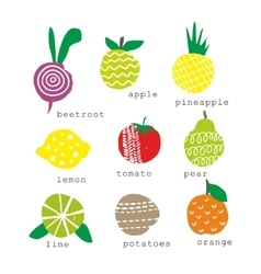 Set of fresh fruits and vegetables vector