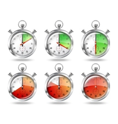 Set of silver bright stopwatch clock intervals vector