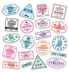 set visa stamps for passports international vector image