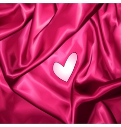 Smooth elegant pink silk with heart vector image