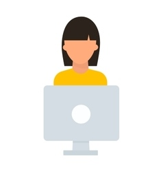Student girl computer vector image