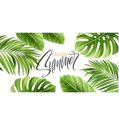 summer poster with tropical palm leaf and vector image