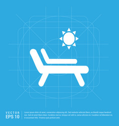 sun bathe on the chaise longue with umbrella icon vector image