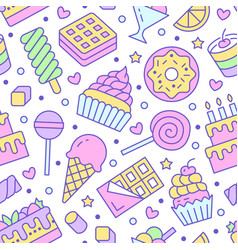 sweet food seamless pattern with flat line icons vector image