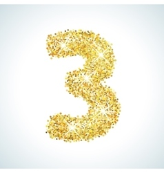 Three number in golden style vector