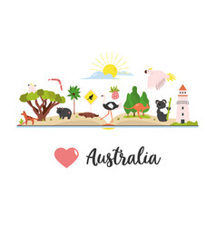 Tourist poster with australian symbols and animals vector