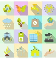 Universal ecology flat icons set vector