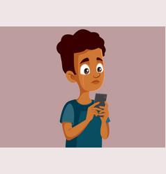Upset african teen boy reading hateful comments vector