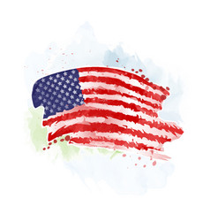 Usa flag painted watercolor on an abstract vector