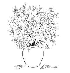 vase with flowers contours vector image