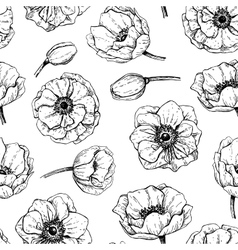 Vintage anemone seamless pattern Hand vector