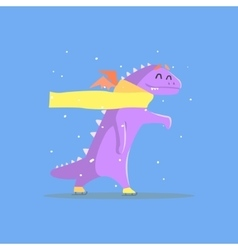 Violet Dragon Monster In Yellow Scarf Ice Skating vector