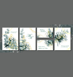 wedding invitation stationery set with flowers vector image