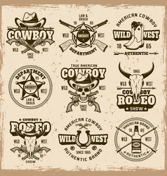 wild west and cowboys set of emblems vector image
