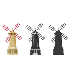 wind flour mill building in different styles vector image