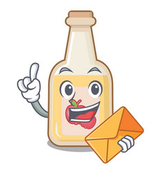 With envelope apple cider isolated with mascot vector
