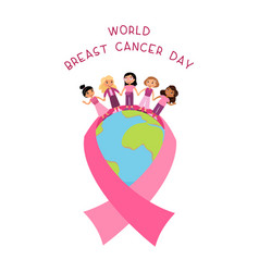 World breast cancer day flat poster template vector