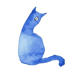 Blue silhouette of a cat with sad eyes vector image