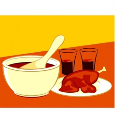 chicken and soup vector image vector image