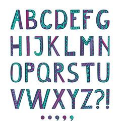 Fantasy hand drawn colorful font vector image