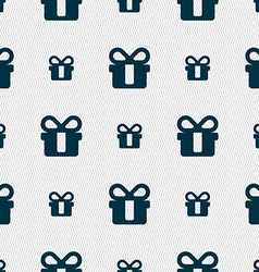 gift icon sign Seamless pattern with geometric vector image